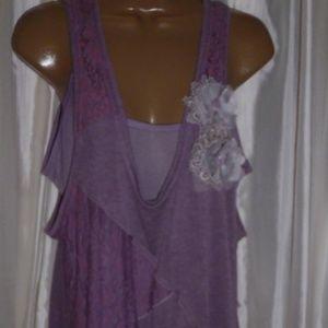 Pretty Angel Purple Lace Tiered dress sz. Lg